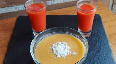 Gazpacho de tomate y sandía y gazpacho de tomate y melocotón con parmesano