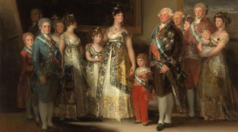 La familia de Carlos IV (Francisco de Goya, ca. 1800). A la derecha, la infanta doña María Luisa, con su hijo Carlos Luis en brazos, y su esposo, el príncipe Luis de Parma.