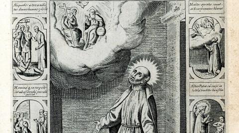 Grabado por Jabobus Laurus realizado en Roma, en 1600, antes de la beatificación del santo. Carmelitas Descalzas de San José de Pamplona