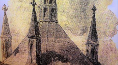 Chimeneas de la cocina de la catedral pamplonesa. Dibujo en fotograbado publicado en P. Madrazo, Navarra y Logroño.