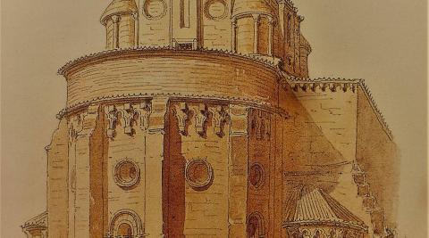 """Monasterio de Santa María de Irache. Según Laffi, """"enorme y hermoso convento que posee gran riqueza y parece una ciudad"""". Dibujo a lápiz y acuarela sobre papel de Jaime Serra y Gibert."""