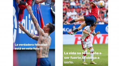 Imágenes compartidas por el Chimy Ávila en los stories de su perfil de Instagram tras el partido de Osasuna contra el Rayo Vallecano