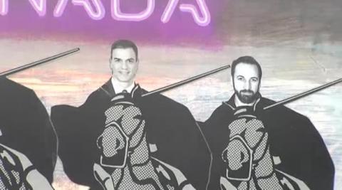 Polémico mural compara a los líderes políticos con 'la Manada'