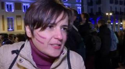 Vídeo de la cacerolada feminista en Sol (Madrid) con el que se da comienzo al Día Internacional de la Mujer