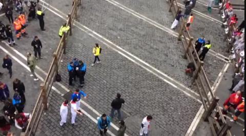 Vídeo del inicio del rodaje de las escenas del encierro en la plaza Consistorial de Pamplona.