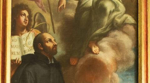 Aprobación del nombre de la Compañía de Jesús, en un lienzo enviado desde Roma en 1749 para la basílica de San Ignacio de Pamplona.