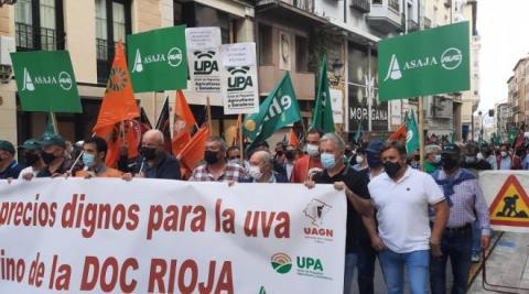 Manifestación de UAGN contra los precios en el sector vitivinícola