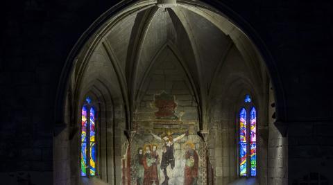 A* Jesús Garzaron F* 2018_05_12 T* Restauración - presentación de pinturas y grafitos de la ermita de Zoilo L* Cáseda