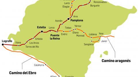 Cuatro vías diferentes de la ruta jacobea atraviesan el territorio navarro.