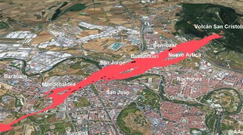 Simulación de la colada de lava si el volcán hubiera erupcionado en el monte San Cristóbal