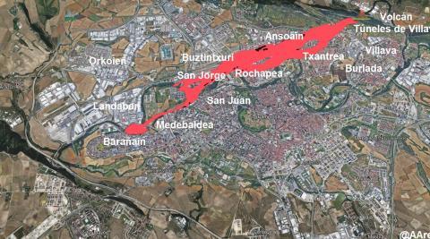 Simulación del terreno afectado por la colada de lava si la erupción se hubiera producido en los túneles de Ezcaba