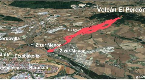 Simulación de la colada de lava si el volcán hubiera erupcionado en El Perdón