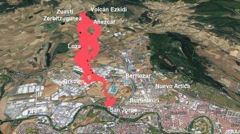 Simulación de la colada de lava si el volcán hubiera erupcionado en el monte Ezkidi