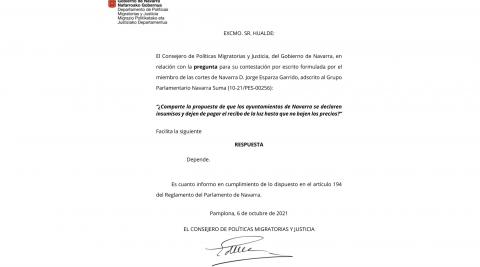 Escrito que ha recibido recibido Jorge Esparza
