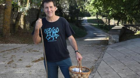 Patxi Laborda no vive en Lizoáin, pero pasa muchos días allí, también el lunes.