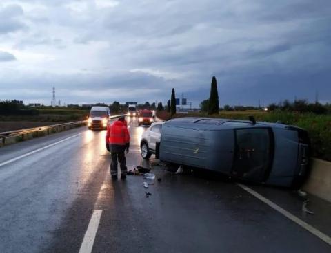 Colisión dos vehículos en A68 en Tudela