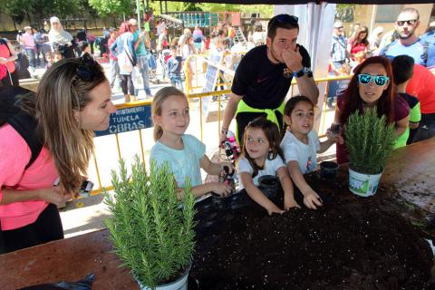 niños plantan arboles en paseo del Prado de Tudela