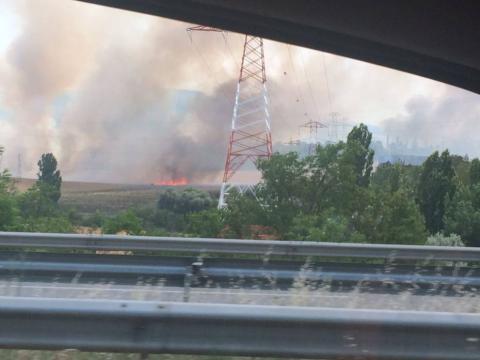 Un incendio se ha registrado este jueves cerca de la localidad de Cizur Menor, en la Cuenca de Pamplona.