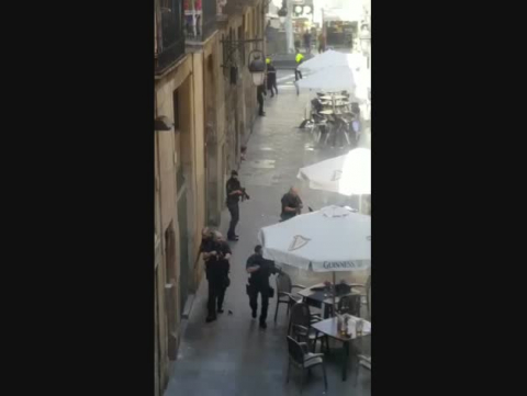 Dispositivo policial tras el atentado en Barcelona