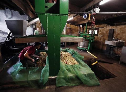 Angel y su hijo Manu, en la localidad navarra de Beruete, elaboran sidra artesanal.