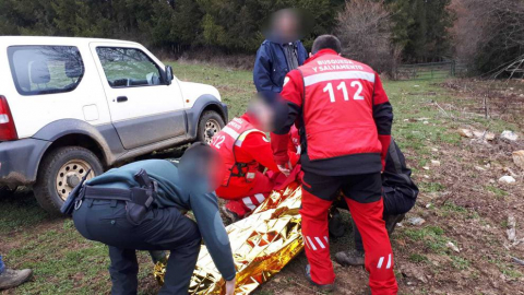 Fotos de la búsqueda y rescate del anciano desaparecido en Burguete cedidas por la Asociación Ebys Navarra (Equipo de Búsqueda, Salvamento y Protección del Medio Ambiente).