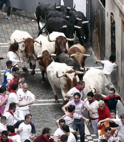 Imágenes del primer encierro de los sanfermines 2019 protagonizado por toros de Puerto de San Lorenzo.