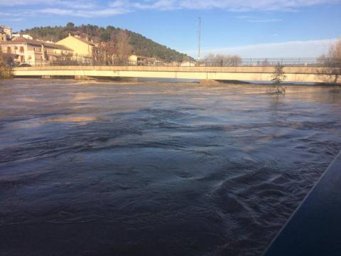 El río Arga a su paso por Funes este sábado a las nueve de la mañana