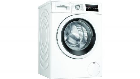Lavadora Bosch WAU28T40ES. 489 € Clase C • 9 kg • 1.400 rpm • Motor EcoSilence con 10 años de garantía • Display LED con recomendación de carga • SpeedPerfect • ActiveWater • Pausa + Carga • Instalación bajo encimera en mueble de altura min. 85 cm