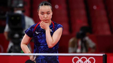 Jugadora japonesa de tenis de mesa durante la final