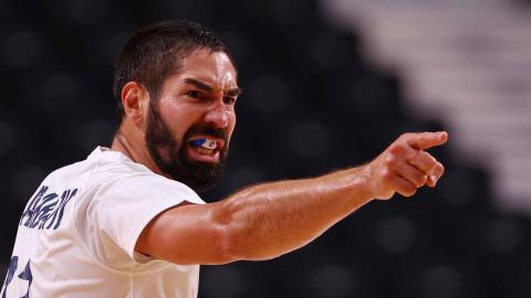 Nikola Karabatic en el duelo entre Francia y Egipto de balonmano