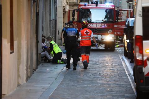 Imágenes del incendio en la pensión Eslava del Casco Viejo de Pamplona