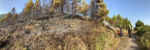Labores de extinción de los bomberos en el incendio del monte Ezcaba.