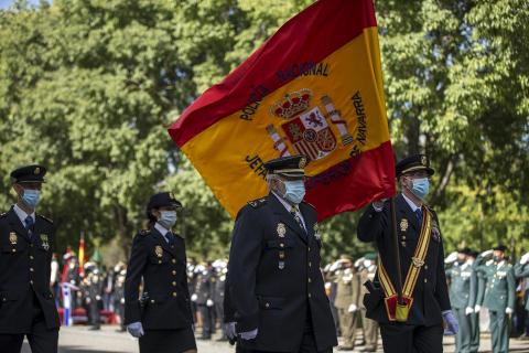 El Cuerpo Nacional de Policía ha celebrado este sábado, festividad de los Santos Ángeles Custodios, el día de su patrón, con un acto al aire libre en Pamplona