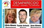 Cartel facilitado este miércoles por la organización SOS Desaparecidos para buscar al padre y las dos niñas.