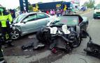 Estado de los vehículos tras el aparatoso accidente en Tudela