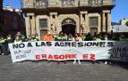 Trabajadores de Dornier, durante la protesta de este jueves