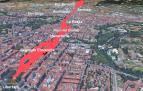 Simulación del terreno afectado por la colada de lava si la erupción se hubiera producido en Pamplona