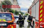 Los bomberos, en el lugar del incendio en Zizur Mayor.