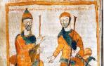 Carlomagno y uno de sus hijos, Pipino el jorobado, en una ilustración de los Anales de Fulda, una crónica medieval que narra lo ocurrido en Francia tras la muerte de Carlomagno hasta el año 900.