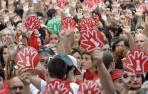 Miles de personas condenan las agresiones sexuales en Pamplona.