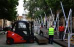 El montaje de la Tómbola en Pamplona ya está en marcha para abrir el 25 de mayo