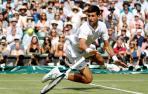 El serbio Novak, defensor del título y número uno del mundo, durante la semifinal de Wimbledon