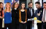 Adriana Lastra (PSOE), Cayetana Álvarez de Toledo (PSOE), Inés Arrimadas (Cs), Irene Montero (Unidas Podemos), Iván Espinosa de los Monteros (Vox), Gabriel Rufián (ERC) y Aitor Esteban (PNV).