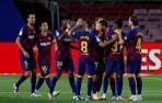 Los jugadores del FC Barcelona celebran el gol marcado por Ansu Fati
