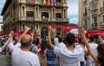 Así ha sido el 'no Chupinazo' en la plaza del Ayuntamiento