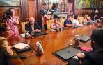La presidenta María Chivite y los consejeros del Gobierno foral, reunidos el pasado 8 de agosto de 2019, tras tomar posesión.