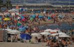 Aspecto de una playa de Barcelona este sábado.