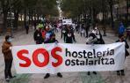 Manifestación en apoyo a la hostelería en Pamplona