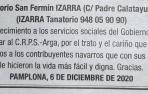 Una parte de la esquela publicada en Diario de Navarra que se ha hecho viral