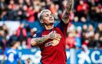 Chimy Ávila celebra el gol que hizo al Athletic de Bilbao en la derrota en El Sadar por 1-2